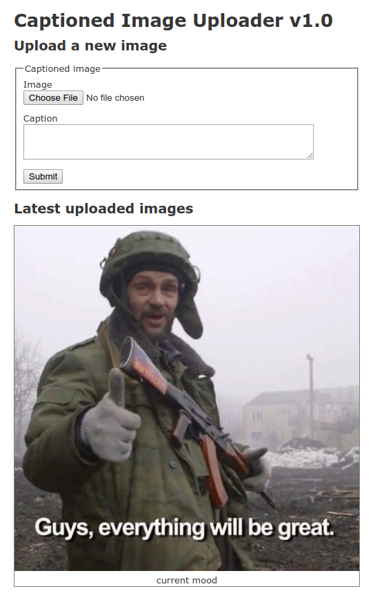 Screenshot of Captioned Image Uploader demo application