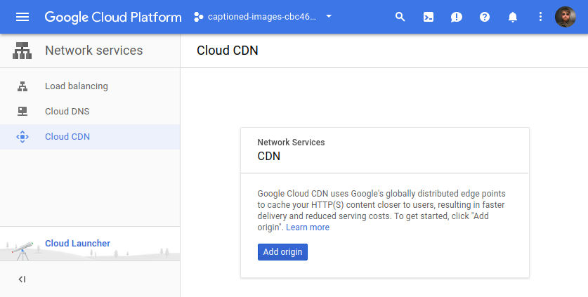 Screenshot of Cloud CDN