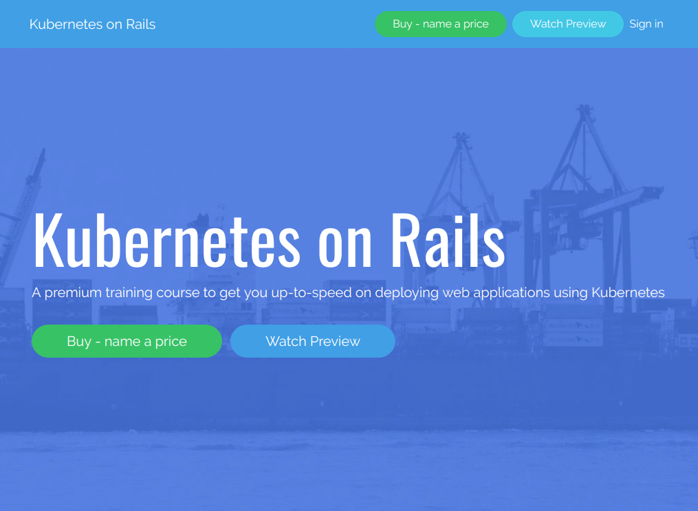 Kubernetes on Rails website preview