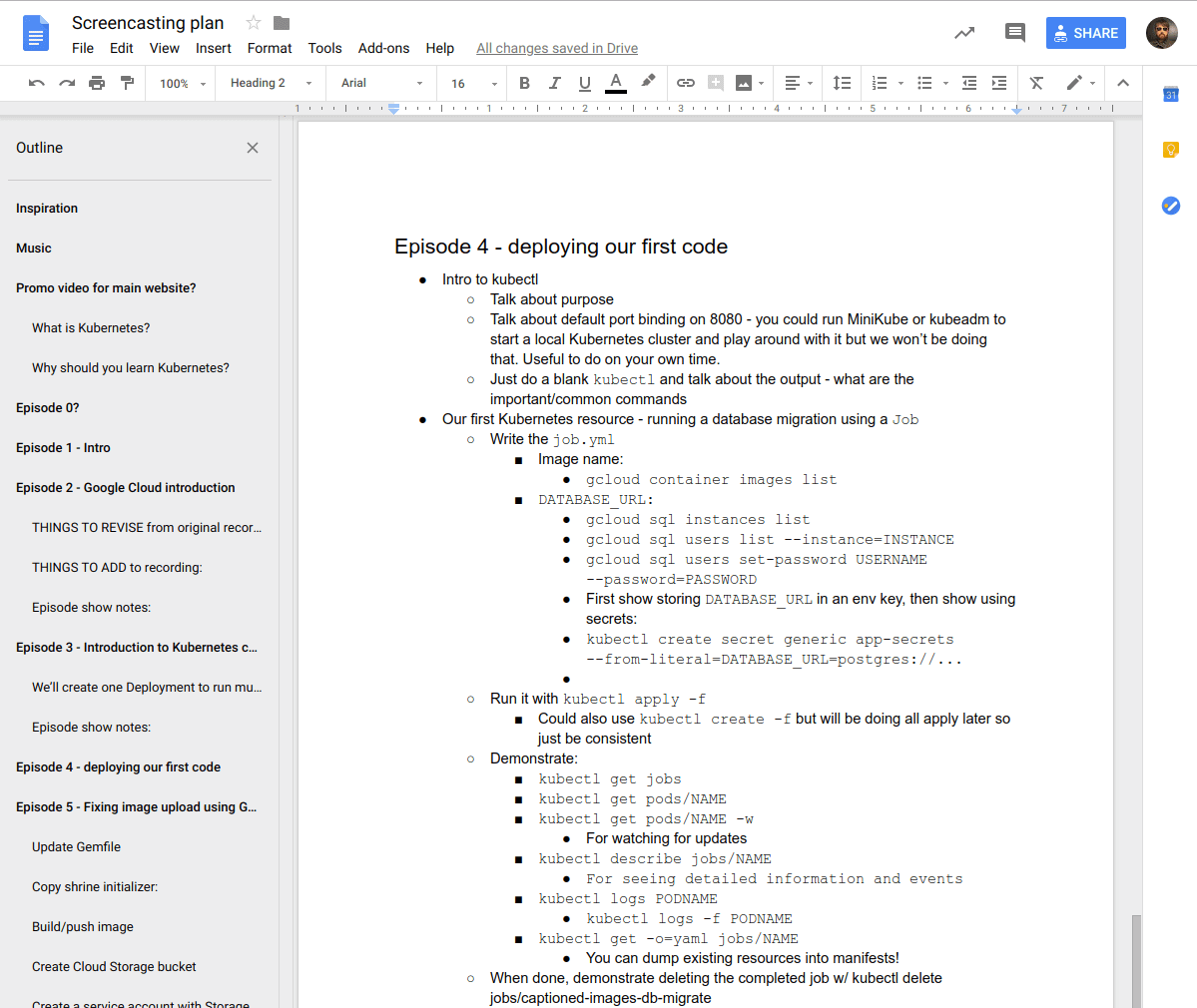 Google Docs notes