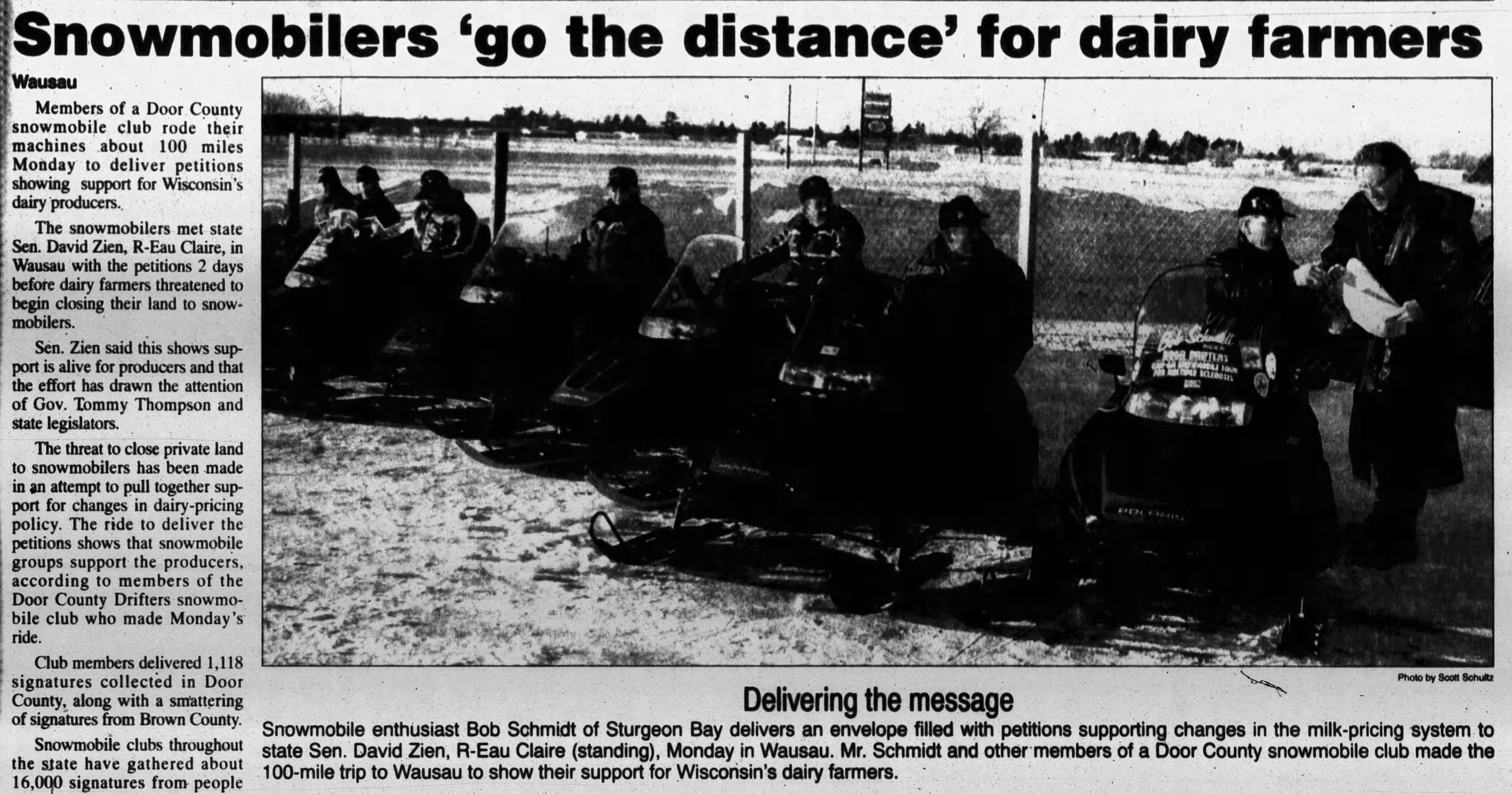Newspaper clipping of snowmobilers supporting land lockout