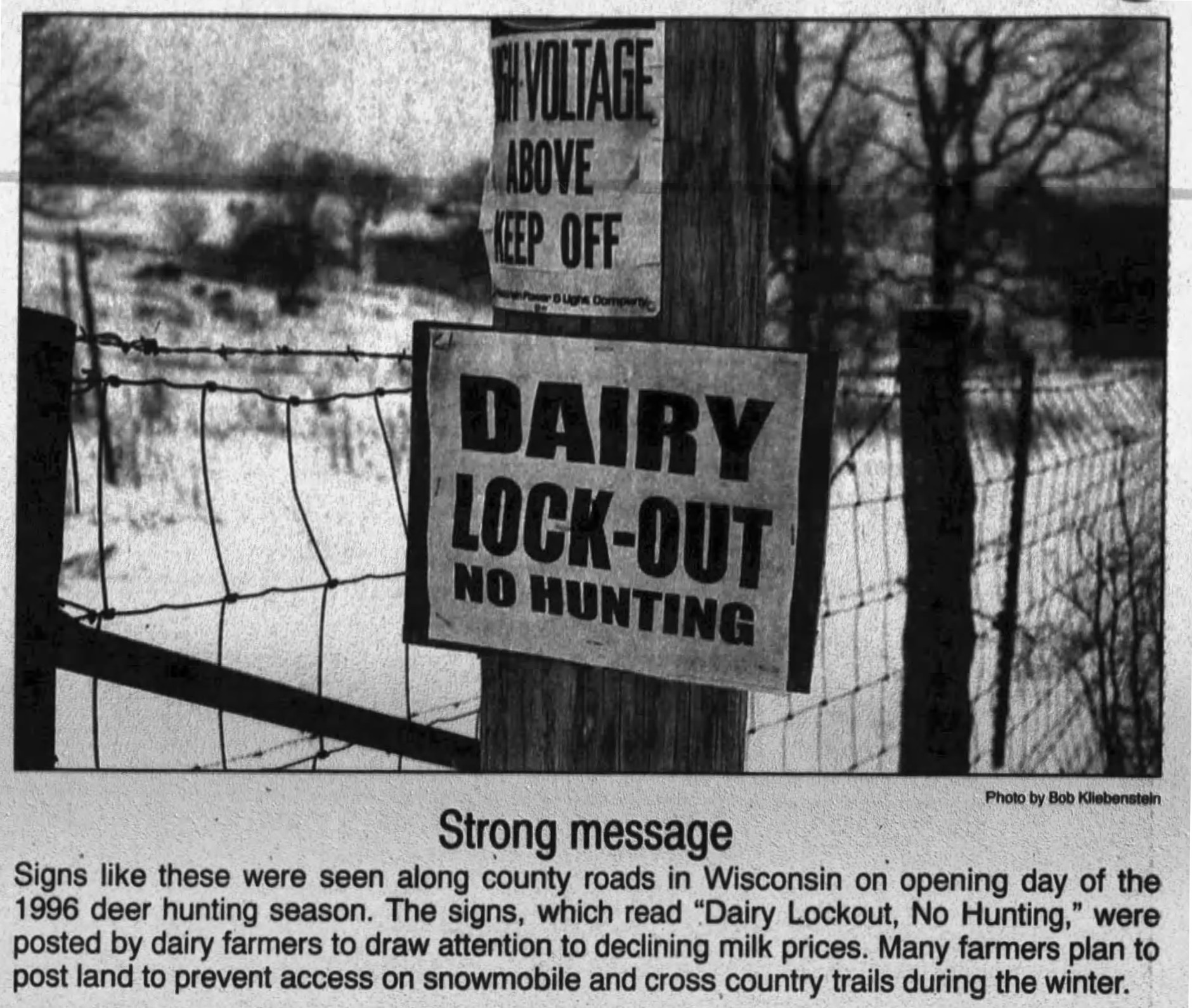 Newspaper clipping of farmer land lockout