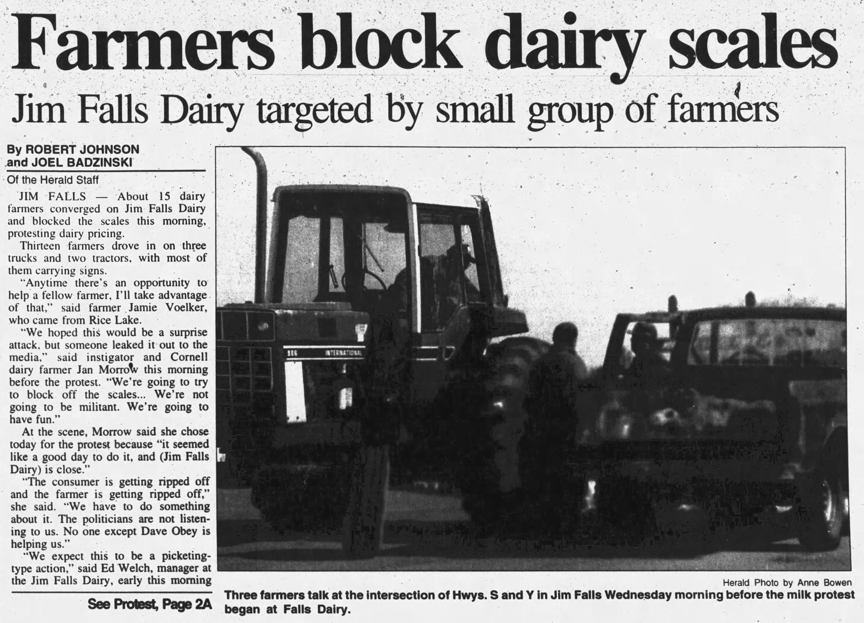 Newspaper clipping showing creamery scales being blocked
